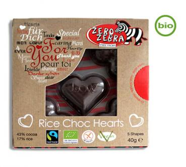 Zero Zebra Rice Choc Shapes HEARTS, Schokoherzen